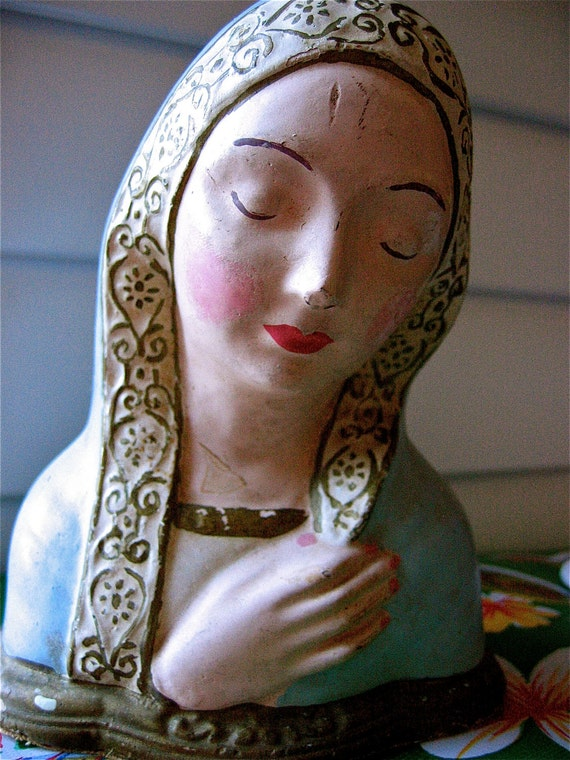 Vintage VIRGIN MARY 1960's Plaster Statue- Sweet and Unique