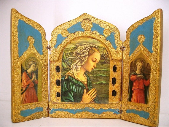 Vintage VIRGIN MARY / MADONNA Florentine Italian Triptych Shrine-  Perfect for a Unique  Gift