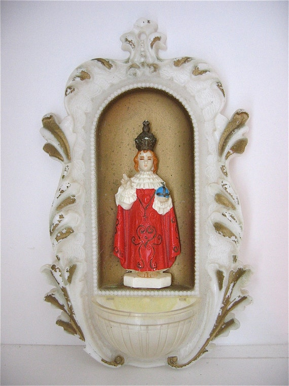 Vintage Infant of Prague Plastic Wall Plaque-  Kitschy and Funky- 1950's Italian Holy  Water Font