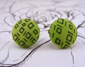 Lime Green Geometric Button Earrings