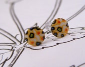 Tiny Vintage Orange Retro Style Earrings
