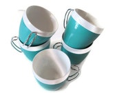 West Bend Coffee Cups Set of 5 Turquoise and White