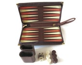 Vintage Travel Backgammon Game, Brown, Peach and Cream