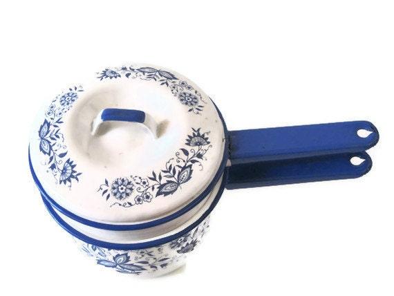 Enamelware Double Boiler Cornflower Blue and White