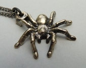Spider Pendant Necklace in Satin Finish Bronze