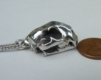 Cat Skull Pendant Cast in Pewter Mountain Lion Cougar