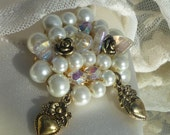 Ivory Pearl and Vintage Gold Heart and Rose Bud Bridal Wedding Shoe Clips.
