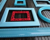 "Frame set collection gallery wall blue aqua teal turquoise red ""A Little Red Goes a Long Way"""