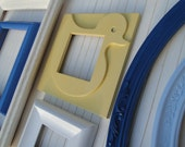 """Frame Collection Set Gallery Wall blue yellow white """"Rubber Duckie, Your'e the One"""""""