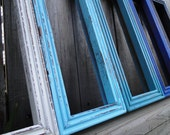 """Frame mirror set collection gallery wall distressed teal turquoise blue white """"Deep Blue Sea"""""""