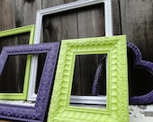 """Frame set collection gallery wall purple, lime and white, """"Purple and Lime"""""""