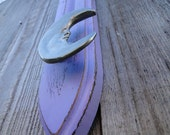 "Repurposed Candle Sconce into lavender purple distressed wooden hanger ""Lilac Moon"""