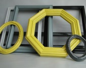"""Frame set collection shelf grouping gallery wall yellow gray white """"City Lights IV"""""""