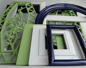 """Large Frame set collection shelf grouping gallery wall green navy blue white flowers """"Sea Breeze"""""""