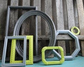 "Frame set collection gallery wall lime green grey white black ""Lime in the Storm II"""