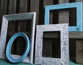 "Frame set collection gallery wall aqua blue white gray dove bird ""For the Love of Blue II"""