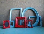 """Frame set collection gallery wall ornate shelf grouping aqua blue red """"A Little Red Goes a Long Way V"""""""