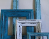 """Frame mirror set collection gallery wall distressed teal turquoise blue white """"Deep Blue Sea II"""""""