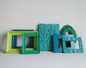 "Frame set collection gallery wall flower bright teal turquoise blue green ""Luscious"""