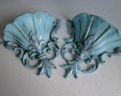 """Updated Painted Vintage Ornate Wall Pockets French Country blue teal turquoise with black patina """"Oops"""""""