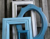 "Frame mirror set collection gallery wall distressed teal turquoise blue white ""Coastal Cottage Blues, Mirrors"""