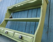 Large Wooden Wall Shelf with drawers in Distressed Green with black and white knobs beach cottage shabby chic country primitive