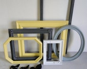 """Frame set collection gallery wall french city country yellow gray white black fleur di lis """"City Lights"""""""