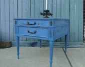 Vintage Wooden End Way Table in Distressed blue with drawer beach cottage shabby chic country primitive