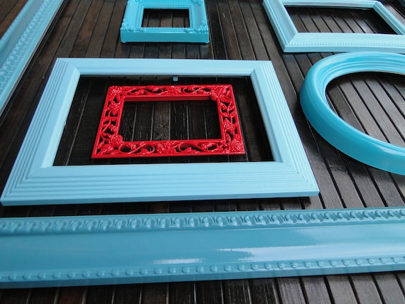 """Frame set collection gallery wall blue aqua teal turquoise red """"A Little Red Goes a Long Way"""""""
