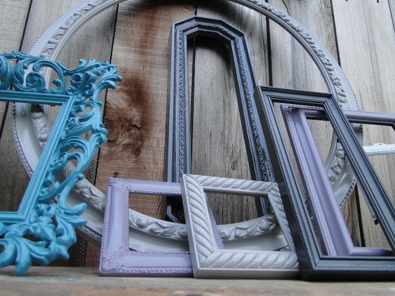 "Frame set collection gallery wall large oval mirror, turquoise, gray, purple, white, ""Subtle"""