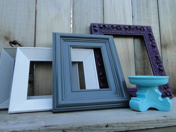frame set collection gallery wall purple gray white aqua. Black Bedroom Furniture Sets. Home Design Ideas
