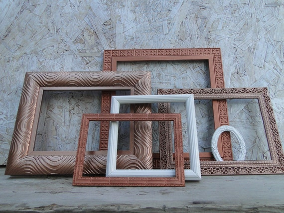 frame set collection gallery wall metal copper white by trwpainted. Black Bedroom Furniture Sets. Home Design Ideas