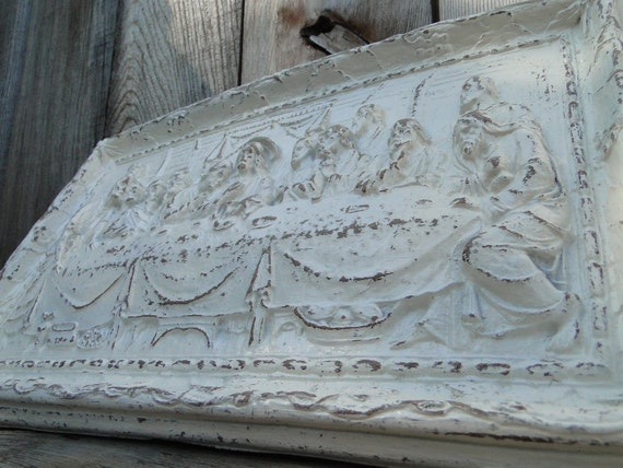 Religious Carved Wall Decor Plaque Distressed Heirloom White