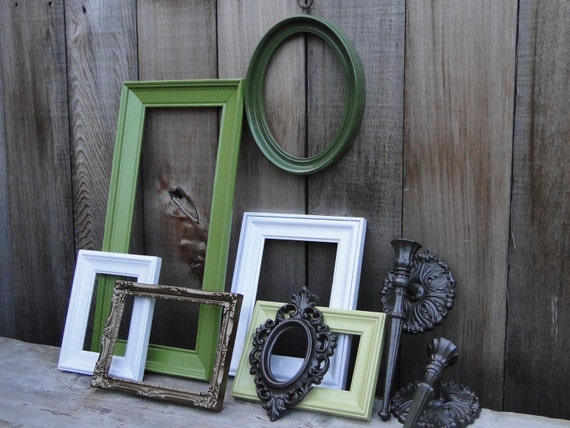"Frame set collection shelf grouping green white bronze ""Olive Oil III"""