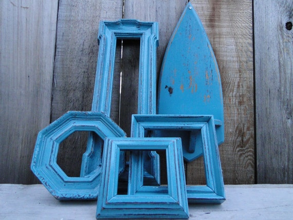 "Frame mirror set collection gallery wall distressed teal turquoise ""Weathered III"""
