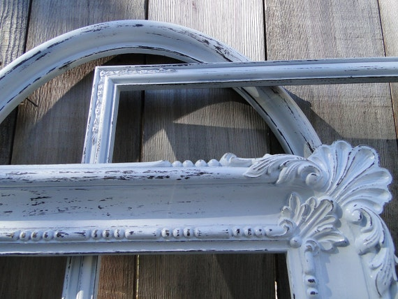 """Large Frame Collection Set Gallery Wall distressed white """"Lace IX"""""""