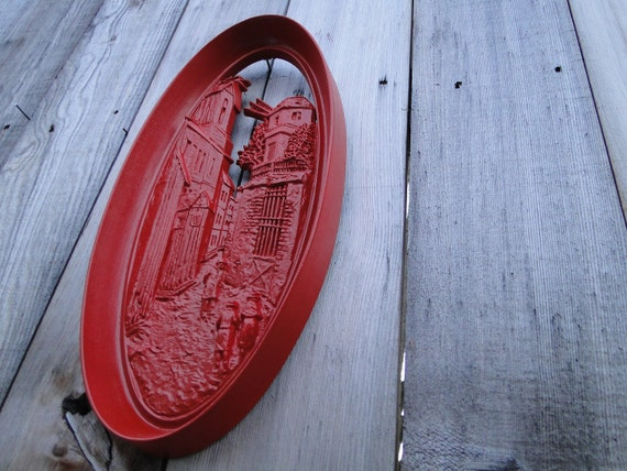 Red Wall Plaque, heavy resin, vintage Burwood oval wall hanging