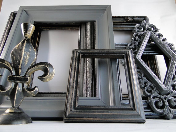 Frame Collection Set Gallery Wall Gray And Distressed Black