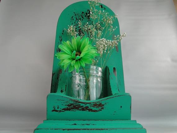 """Wooden Shelf Sconce glass flower vase distressed deep jade green """"Green Bird"""""""