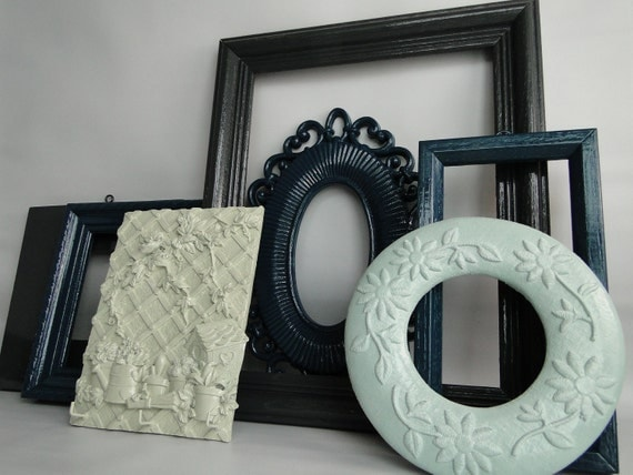 """Frame set collection shelf grouping gallery wall yellow purple teal green """"Evening II"""""""