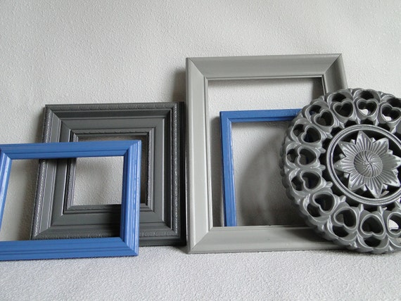 """Frames Open Frame set collection gallery wall ornate shelf grouping violet blue gray """"Blue Carving"""""""