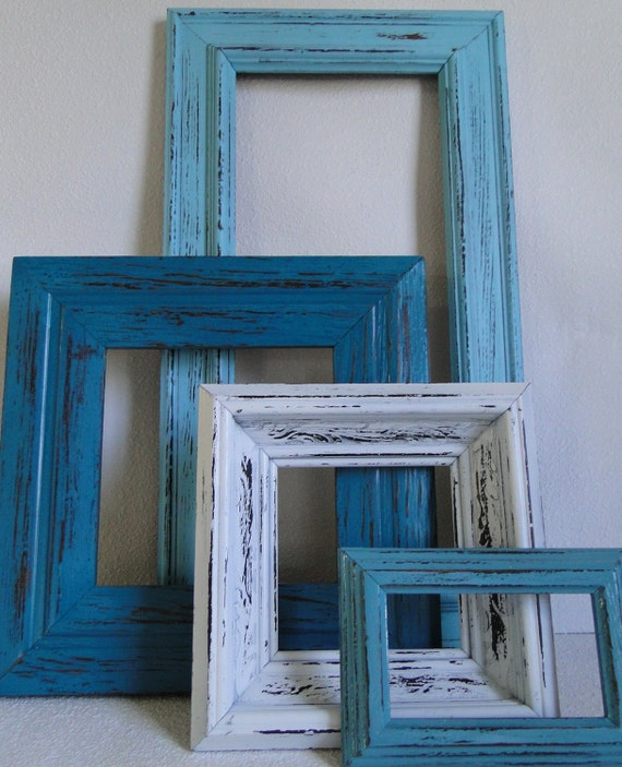 frame mirror set collection gallery wall distressed by trwpainted. Black Bedroom Furniture Sets. Home Design Ideas