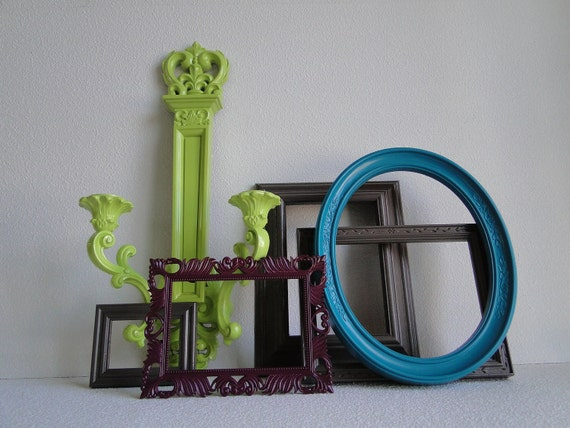 "Frame set collection shelf grouping gallery wall gray purple green blue teal turquoise ""Modern Twist II"""