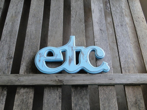 "Updated home office Wall Decor wooden letters etc plaque in distressed aqua ""ETC"""
