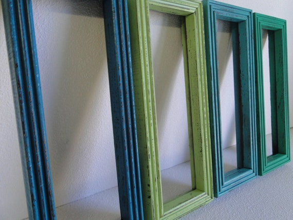 Frame mirror set collection gallery wall distressed by for Teal framed mirror