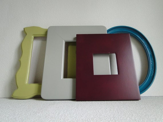 "Frame set collection shelf grouping gallery wall gray purple green blue teal turquoise ""Modern Twist III"""