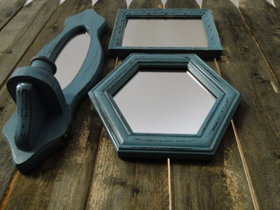 """Framed mirror set candle sconce collection gallery wall distressed teal turquoise blue """"Weathered Mirrors"""""""