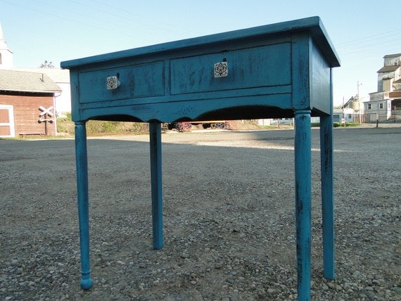 Simple Wooden Desk Vanity Entry Way Table in Distressed teal turquoise blue with drawers beach cottage shabby chic country primitive