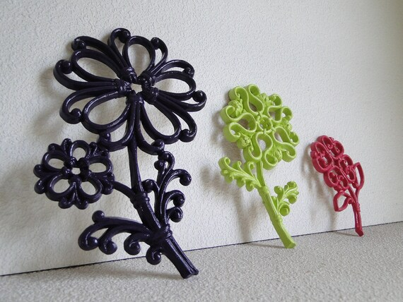 Flowers Home Decor Updated Wall Decor vintage flower plaques in purple lime green and pink
