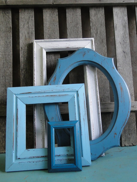 """Frame mirror set collection gallery wall distressed teal turquoise blue white """"Coastal Cottage Blues, Mirrors"""""""
